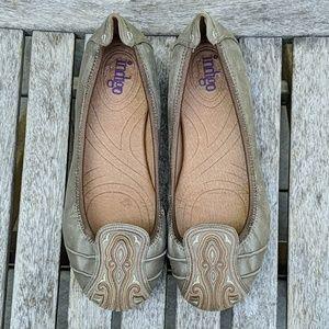 Clarks Indigo Embroidered Metallic Leather Flats